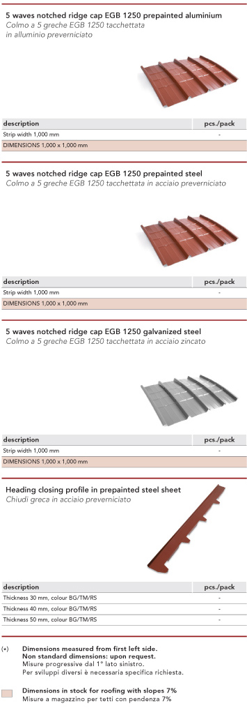 Metal building envelope, steel trapezoidal corrugated sheets, flashing, accessories - elementi grecati in acciaio, lattoniere, accessori, Marcegaglia